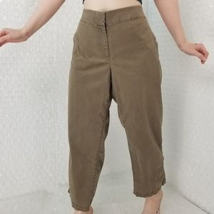 Eileen Fisher olive high-waist cropped pants